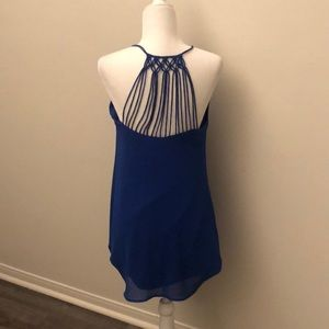Black Detail Blue Dress